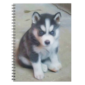 Siberian Husky puppy Spiral Note Books