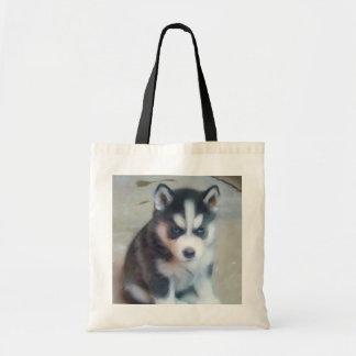 Siberian Husky puppy tote bag