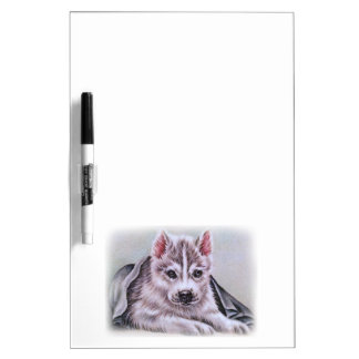 Siberian Husky Puppy with Blanket Drawing Dry Erase Board