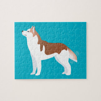 Siberian Husky - Red - Breed Template Design Puzzle