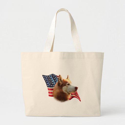 Siberian Husky (red) Flag Jumbo Tote Bag