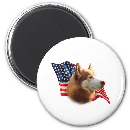 Siberian Husky (red) Flag Magnet