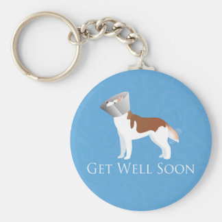 Siberian Husky - Red - Get Well Soon Design Keychains