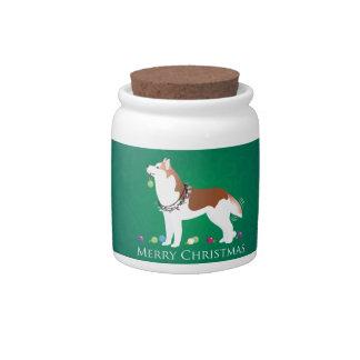 Siberian Husky - Red - Merry Christmas Design Candy Jars