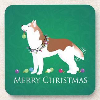 Siberian Husky - Red - Merry Christmas Design Coaster