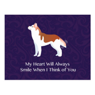 Siberian Husky - Red - Thinking of You Design Postcard