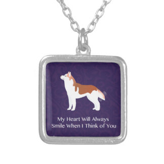 Siberian Husky - Red - Thinking of You Design Silver Plated Necklace