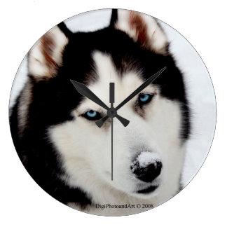 Siberian Husky Round Clock