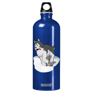 Siberian Husky Running in the Snow with Tongue Out Aluminum Water Bottle