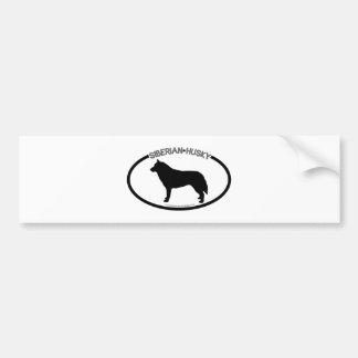 Siberian Husky Silhouette Black Bumper Sticker Car Bumper Sticker