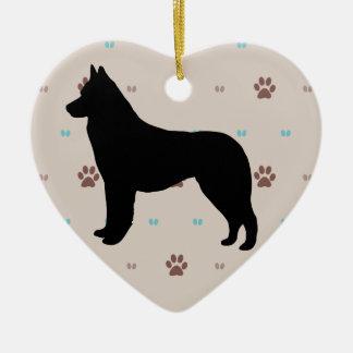 Siberian Husky Silhouette Double-Sided Heart Ceramic Christmas Ornament