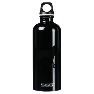 Siberian Husky Silhouette with Custom Text Aluminum Water Bottle