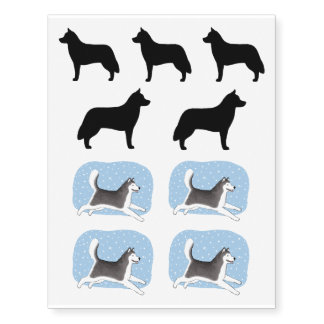 Siberian Husky Silhouettes and Drawings Temporary Tattoos