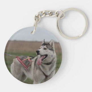 Siberian Husky sled dog Double-Sided Round Acrylic Keychain