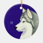 Siberian Husky Snowflake Ornament