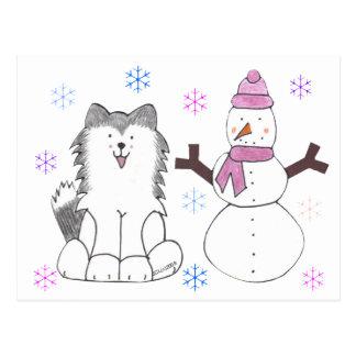 Siberian Husky & Snowman Postcard