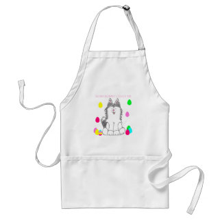 Siberian Husky Somebunny Loves Me Adult Apron