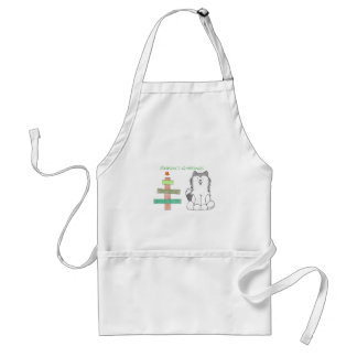 Siberian Husky Stick Tree Adult Apron