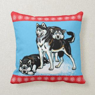 siberian husky throw pillow