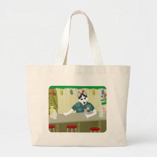 Siberian Husky Tiki Bar Tote Bags