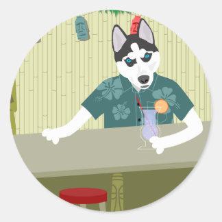 Siberian Husky Tiki Bar Classic Round Sticker