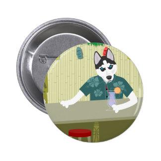 Siberian Husky Tiki Bar Pinback Button