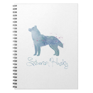 Siberian Husky Watercolor Design Spiral Note Book