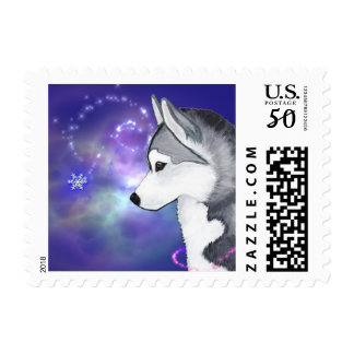 Siberian Husky Winter Snow Flurry Postage Stamps