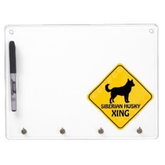 Siberian Husky Xing Dry Erase Board With Keychain Holder