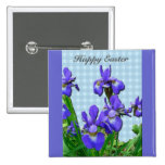 Siberian Iris Happy Easter Coordinated Items 2 Inch Square Button