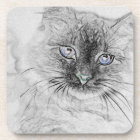 Siberian Kitty Cat Napping on the Marble Slab Drink Coaster