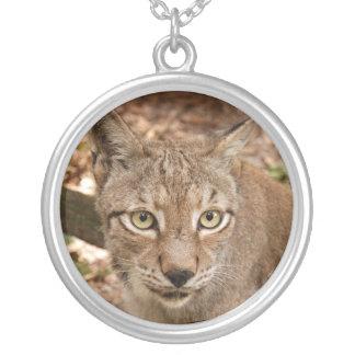 siberian lynx 032 round pendant necklace