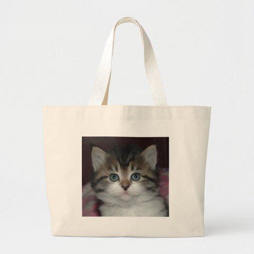 Siberian Tabby/White Kitten Tote Bags