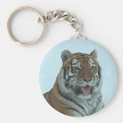 Siberian Tiger Close Up Face 2 Basic Round Button Keychain