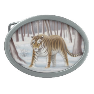Siberian Tiger in Snow Belt Buckle