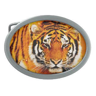 Siberian Tiger Oval Belt Buckle