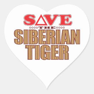 Siberian Tiger Save Heart Sticker