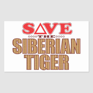 Siberian Tiger Save Rectangular Sticker