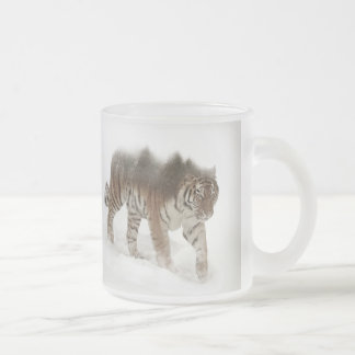 Siberian tiger-Tiger-double exposure-wildlife Frosted Glass Coffee Mug