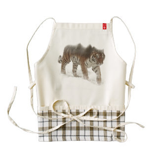 Siberian tiger-Tiger-double exposure-wildlife Zazzle HEART Apron
