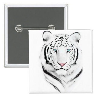 Siberian White Tiger Button