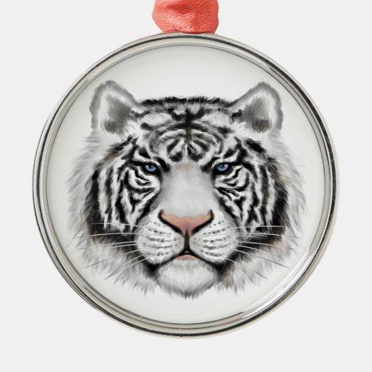 Siberian White Tiger Metal Ornament