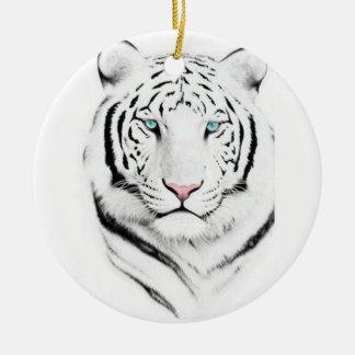 Siberian White Tiger Christmas Ornaments