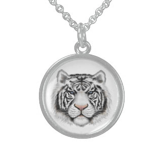 Siberian White Tiger Sterling Silver Necklace