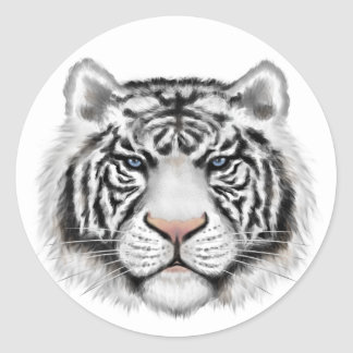 Siberian White Tiger Round Stickers