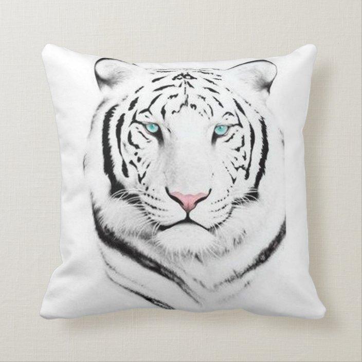 Siberian White Tiger Throw Pillow Zazzle Com