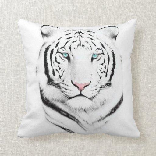 Siberian White Tiger Throw Pillow