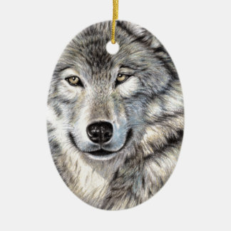 Siberian wolf portrait ceramic ornament
