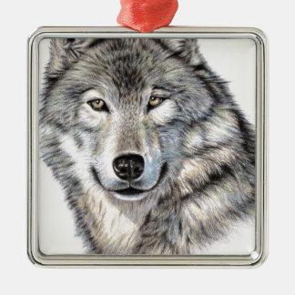 Siberian wolf portrait metal ornament