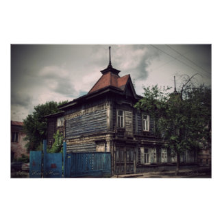 Siberian wooden houses (project by vladstudio.com) print